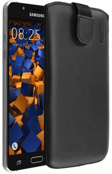 Leder Etui Tasche mit Ausziehlasche schwarz für Samsung Galaxy J5 (2016)