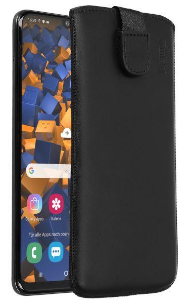 Leder Etui Tasche mit Ausziehlasche schwarz für Samsung Galaxy A50
