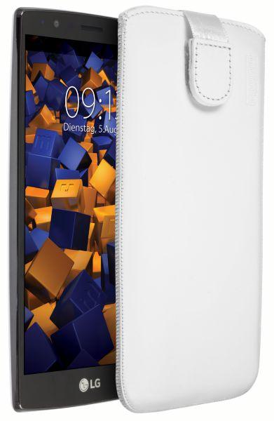 Leder Etui Tasche mit Ausziehlasche weiß für LG G4