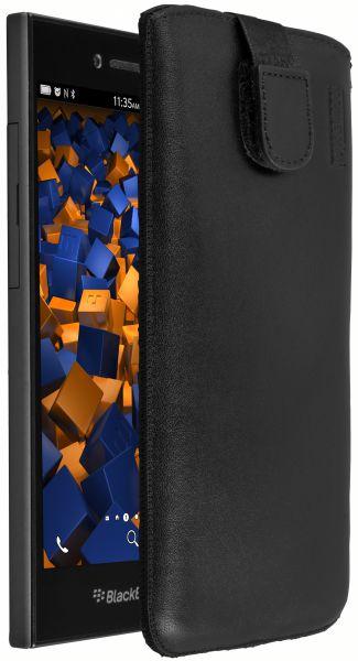 Leder Etui Tasche mit Ausziehlasche schwarz für BlackBerry Leap