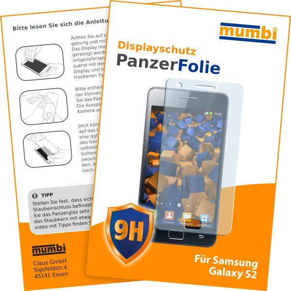Panzerglasfolie Hartglas 9H für Samsung Galaxy S2