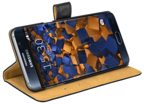 Bookstyle Ledertasche schwarz für Samsung Galaxy S6 Edge Plus
