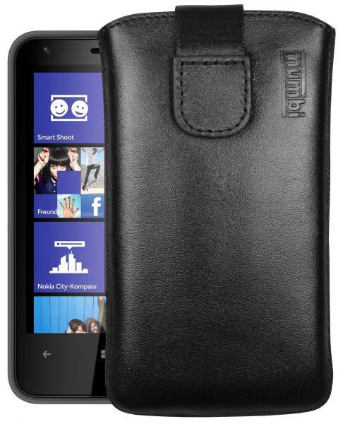 Leder Etui Tasche mit Ausziehlasche schwarz für Nokia Lumia 620