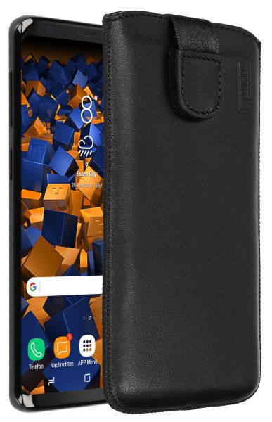 Leder Etui Tasche mit Ausziehlasche schwarz für Samsung Galaxy S9