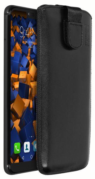 Leder Etui Tasche mit Ausziehlasche schwarz für Huawei Honor 10
