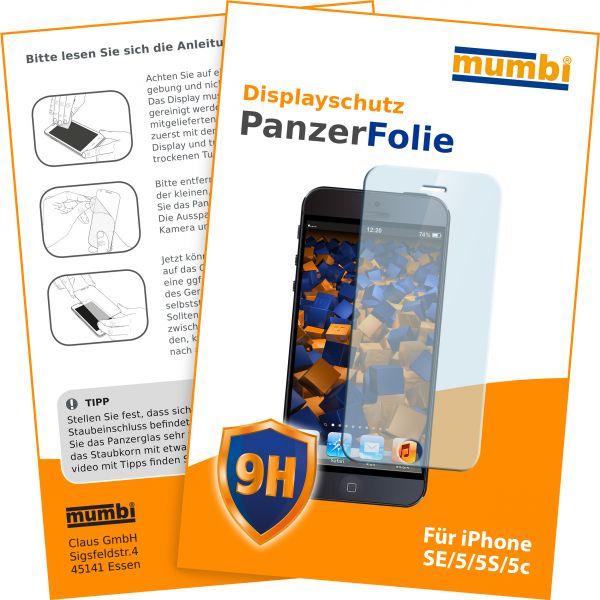 Panzerfolie Hartglas 9H für Apple iPhone SE / 5 / 5s