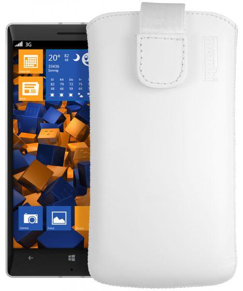 Leder Etui Tasche mit Ausziehlasche weiß für Nokia Lumia 930