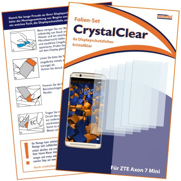Displayschutzfolie 6 Stck. CrystalClear für ZTE Axon 7 Mini