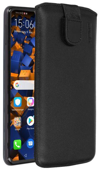 Leder Etui Tasche mit Ausziehlasche schwarz für Huawei P30