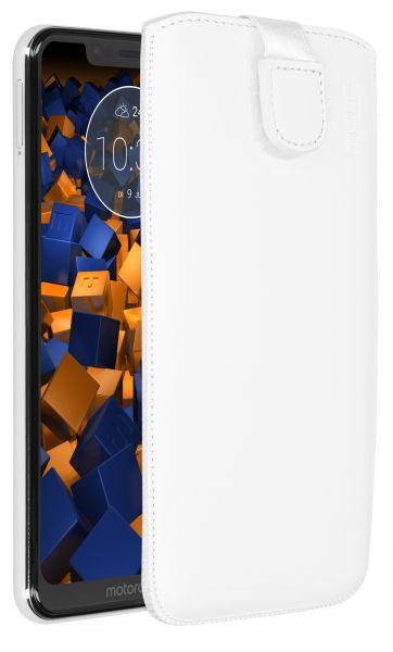 Leder Etui Tasche mit Ausziehlasche weiß für Motorola One