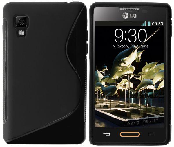 TPU Hülle S-Design schwarz für LG E440 Optimus L4 II