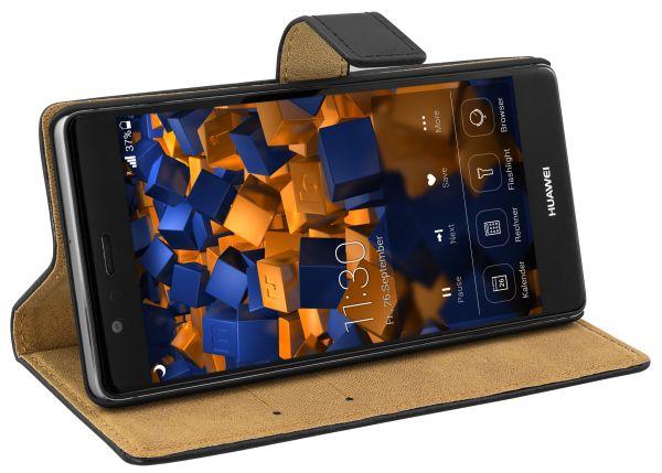 Bookstyle Ledertasche schwarz für Huawei P9