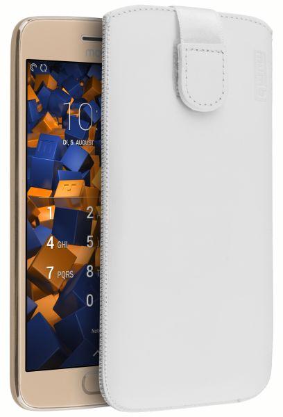 Leder Etui Tasche mit Ausziehlasche weiß für Motorola Moto G5 Plus