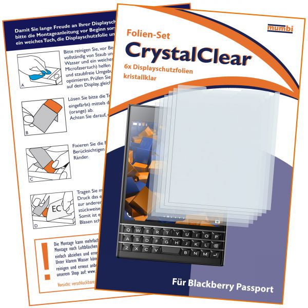 Displayschutzfolie 6 Stck. CrystalClear für Blackberry Passport