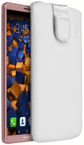 Leder Etui Tasche mit Ausziehlasche weiß für Huawei Mate 10 Pro