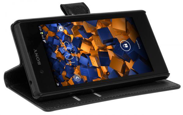 Bookstyle Tasche schwarz für Sony Xperia E3