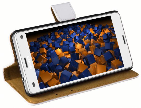 Bookstyle Ledertasche weiß für Sony Xperia Z3 Compact