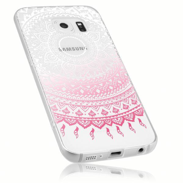 TPU Hülle transparent weiß rosa Motiv Mandala für Samsung Galaxy S6 Edge
