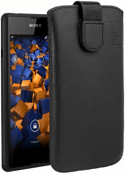Leder Etui Tasche mit Ausziehlasche schwarz für Sony Xperia E3