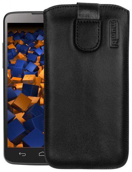 Leder Etui Tasche mit Ausziehlasche schwarz für Medion Life P5001