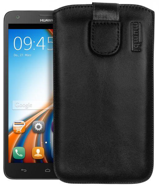 Leder Etui Tasche mit Ausziehlasche schwarz für Huawei Ascend G750