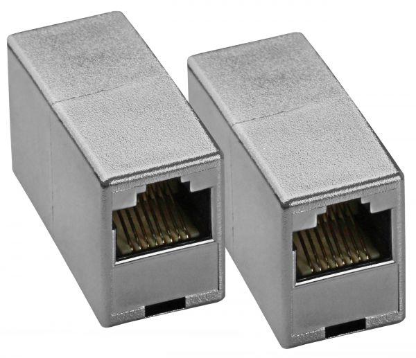 CAT 5e Ethernet Netzwerkkabel Verbinder silber (2 Stück)