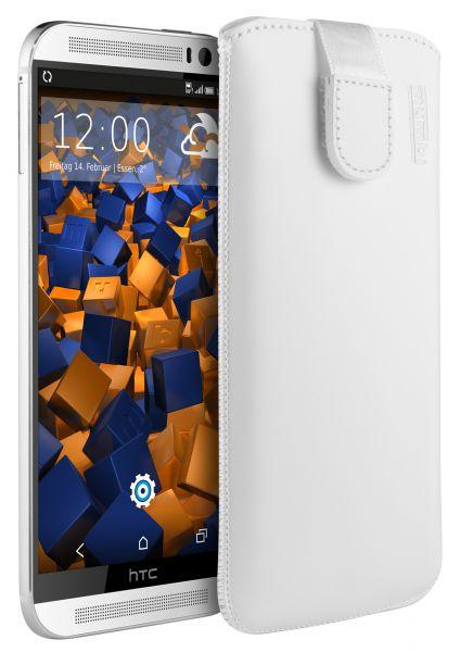 Leder Etui Tasche mit Ausziehlasche weiß für HTC One M8 / M8s
