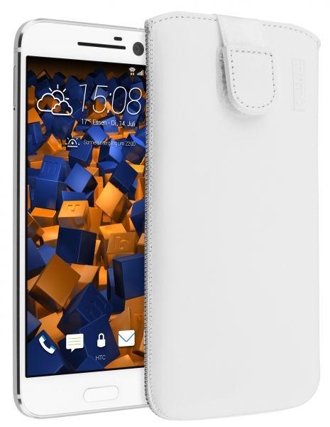 Leder Etui Tasche mit Ausziehlasche weiß für HTC 10