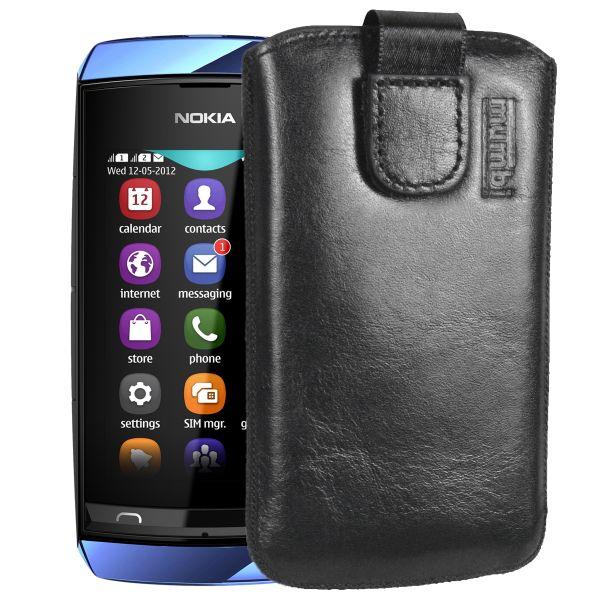 Leder Etui Tasche mit Ausziehlasche schwarz für Nokia Asha 305 / 306