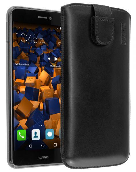 Leder Etui Tasche mit Ausziehlasche schwarz für Huawei P8 Lite (2017)
