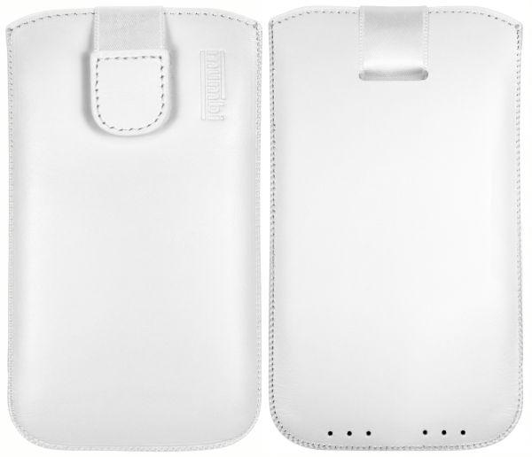 Leder Etui Tasche mit Ausziehlasche weiß für Lenovo Moto Z2 Play