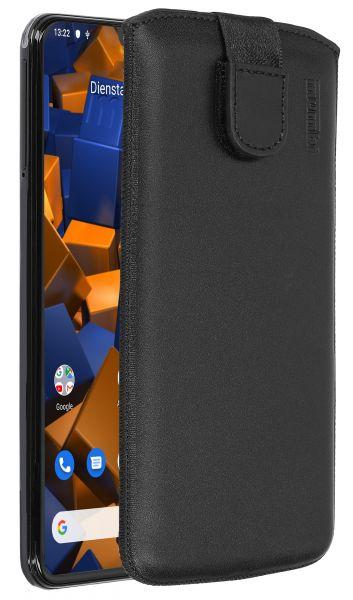 Leder Etui Tasche mit Ausziehlasche schwarz für Samsung Galaxy A20e