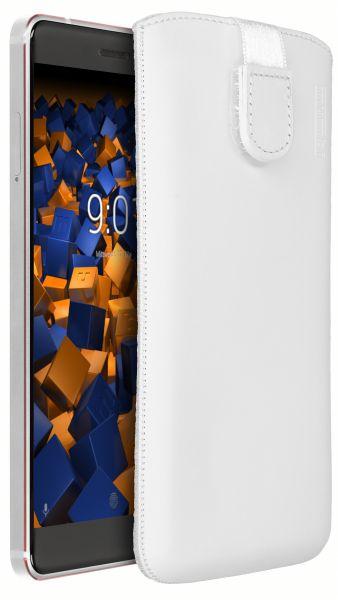 Leder Etui Tasche mit Ausziehlasche weiß für Nokia 6 (2018)