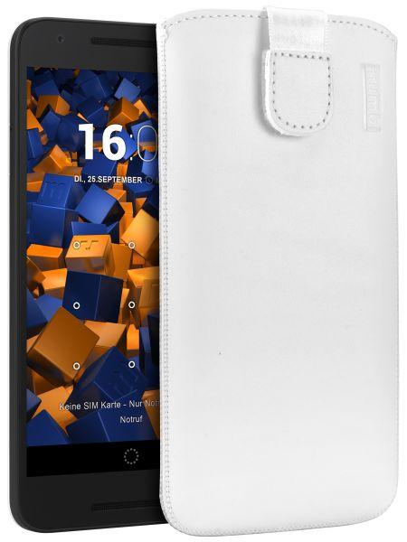 Leder Etui Tasche mit Ausziehlasche weiß LG Google Nexus 5X