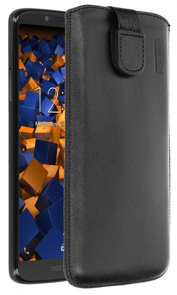 Leder Etui Tasche mit Ausziehlasche schwarz für Motorola Moto G6 Play
