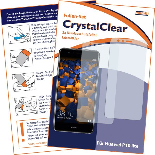 Displayschutzfolie 2 Stck. CrystalClear für Huawei P10 Lite