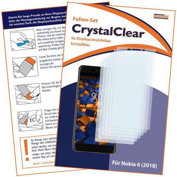 Displayschutzfolie 6 Stck. CrystalClear für Nokia 6 (2018)