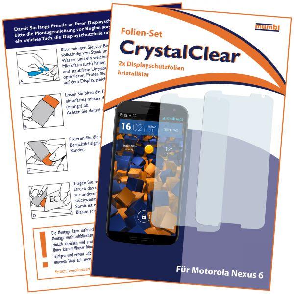 Displayschutzfolie 2 Stck. CrystalClear für Motorola Google Nexus 6