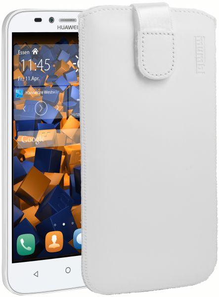 Leder Etui Tasche mit Ausziehlasche weiß für Huawei Y625