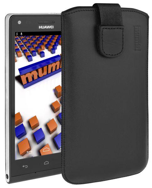 Leder Etui Tasche mit Ausziehlasche schwarz für Huawei Ascend P7 Mini