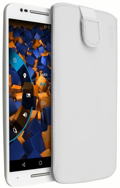 Leder Etui Tasche mit Ausziehlasche weiß für Motorola Moto X Style