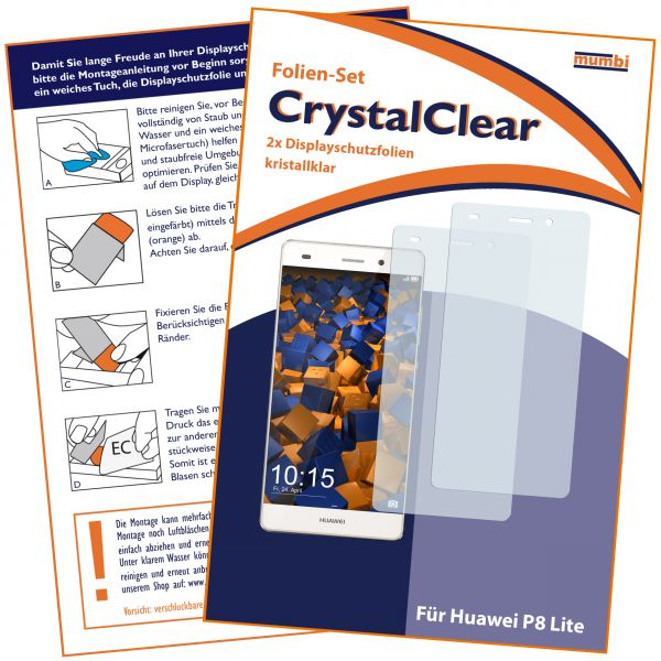 Displayschutzfolie 2 Stck. CrystalClear für Huawei P8 Lite (2015)