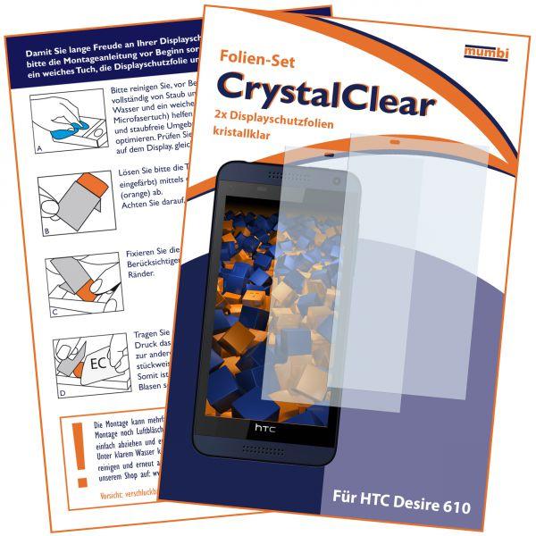 Displayschutzfolie 2 Stck. CrystalClear für HTC Desire 610