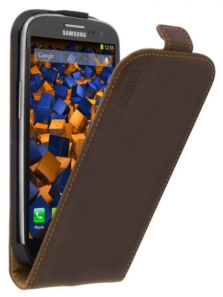 Flip Case Ledertasche Vintage braun für Samsung Galaxy S3 / Galaxy S3 Neo