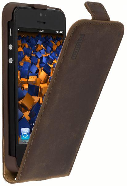Flip Case Ledertasche Vintage braun für Apple iPhone SE / 5 / 5s