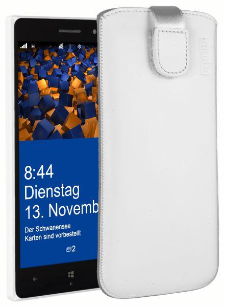 Leder Etui Tasche mit Ausziehlasche weiß für Nokia Lumia 830