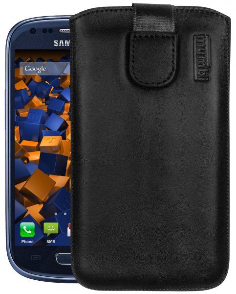 Leder Etui Tasche mit Ausziehlasche schwarz für Samsung Galaxy S3 mini