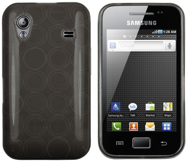 TPU Hülle transparent schwarz Kreismuster für Samsung Galaxy Ace