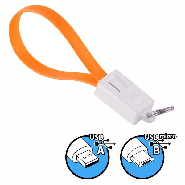 Daten- und Ladekabel USB A auf micro USB B Stecker Schlüsselanhänger in Orange