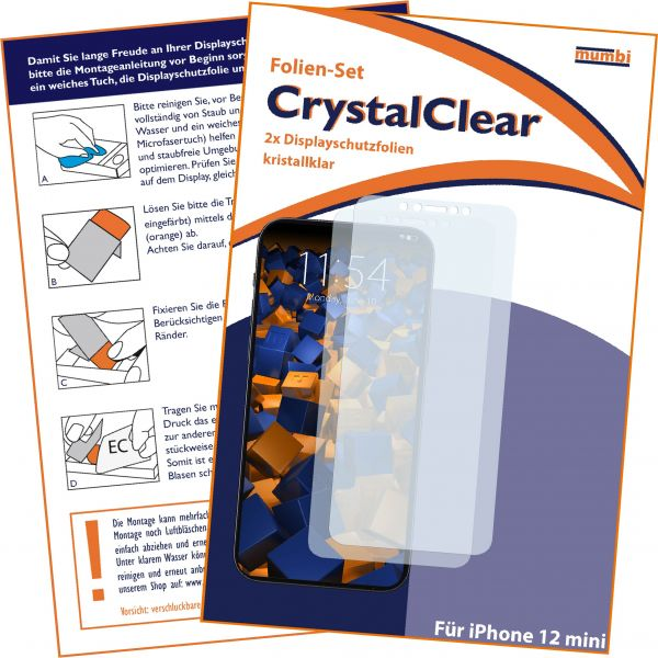 Displayschutzfolie 2 Stck CrystalClear für Apple iPhone 12 mini